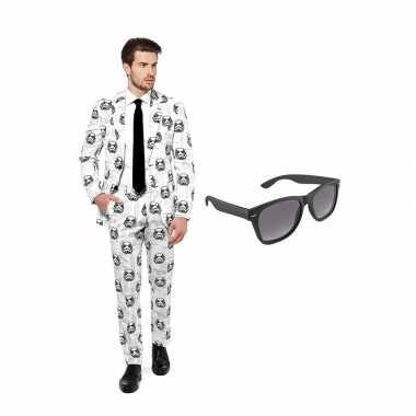 Verkleed stormtrooper print net heren carnavalskleding maat (s) grat