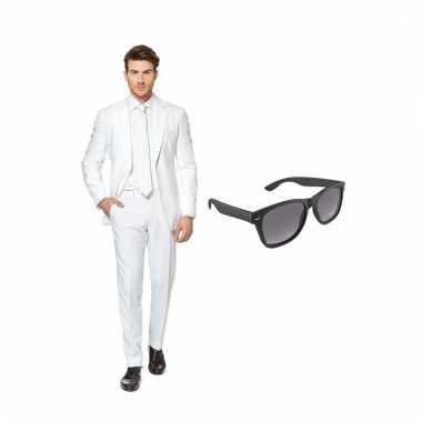 Verkleed wit net heren carnavalskleding maat (l) gratis zonnebril he