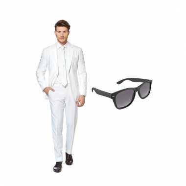 Verkleed wit net heren carnavalskleding maat (xxl) gratis zonnebril
