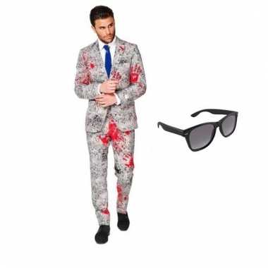 Verkleed zombie net heren carnavalskleding maat (l) gratis zonnebril