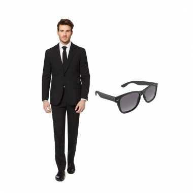 Verkleed zwart net heren carnavalskleding maat (l) gratis zonnebril