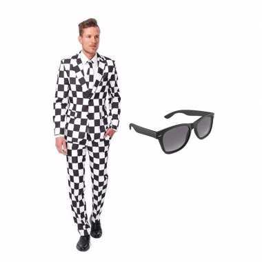 Verkleed zwart/wit geblokt print net heren carnavalskleding maat (s)