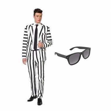 Verkleed zwart wit gestreept print net heren carnavalskleding maat s gratis zonnebril helmond