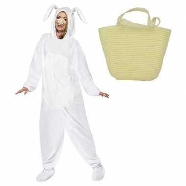 Wit konijnen/hazen carnavalskleding maat l mandje volwassenen helmon