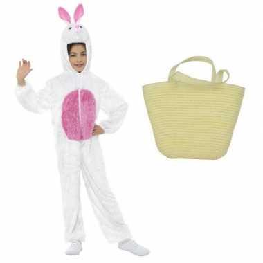 Wit konijnen/hazen carnavalskleding maat m mandje kinderen helmond