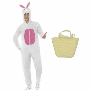 Wit konijnen/hazen carnavalskleding maat m mandje volwassenen helmon