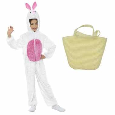 Wit konijnen/hazen carnavalskleding maat s mandje kinderen helmond