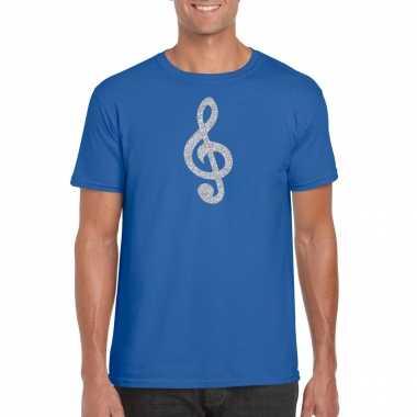 Zilveren muziek noot g sleutel / muziek feest t shirt / carnavalskleding blauw heren helmond
