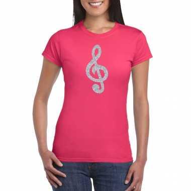 Zilveren muziek noot g sleutel / muziek feest t shirt / carnavalskleding roze dames helmond