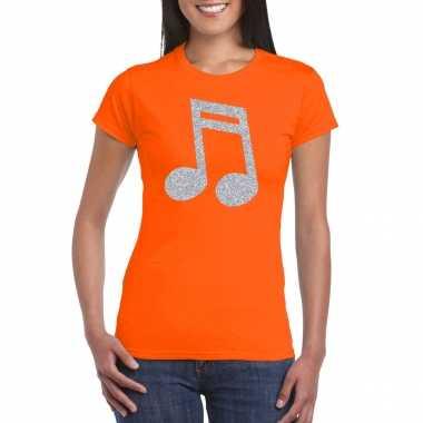 Zilveren muziek noot / muziek feest t shirt / carnavalskleding oranje dames helmond