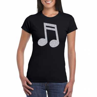 Zilveren muziek noot / muziek feest t shirt / carnavalskleding zwart dames helmond