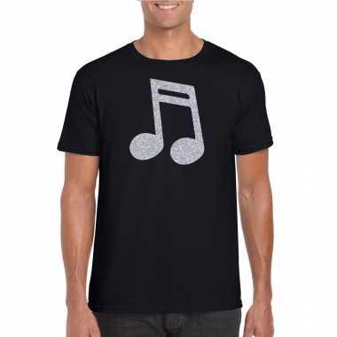 Zilveren muziek noot / muziek feest t shirt / carnavalskleding zwart heren helmond