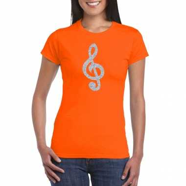 Zilveren muzieknoot g sleutel / muziek feest t shirt / carnavalskleding oranje dames helmond