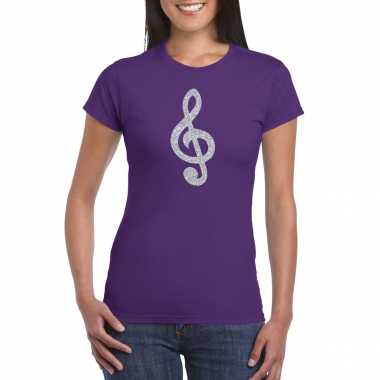 Zilveren muzieknoot g sleutel / muziek feest t shirt / carnavalskleding paars dames helmond