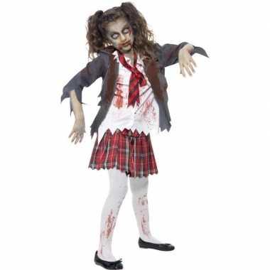 Zombie schoolmeisje carnavalskleding meisjes helmond