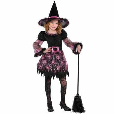 Zwart roze heksen carnavalskleding meisjes helmond