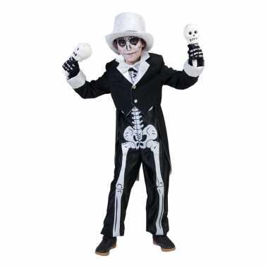 Zwart skelet carnavalskleding jongens helmond