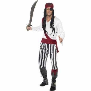 Zwart/wit piraten carnavalskleding heren helmond