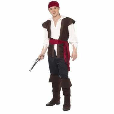 Zwart/wit/rood piraten carnavalskleding heren helmond