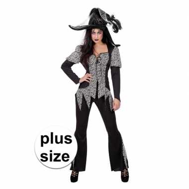 Zwart/wit zombie heksen carnavalskleding plus size dames helmond