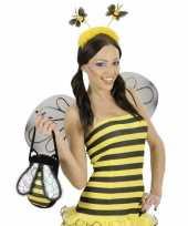 Carnavalskleding bijen haarband geel helmond