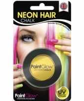 Carnavalskleding blacklight gele haarkrijt helmond