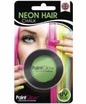 Carnavalskleding blacklight groen haarkrijt helmond