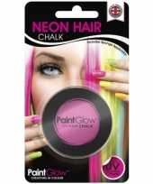 Carnavalskleding blacklight roze haarkrijt helmond