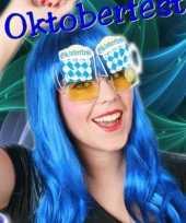 Carnavalskleding blauw wit geruite feestbril helmond