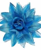 Carnavalskleding blauwe bloem haarspeld glitters helmond