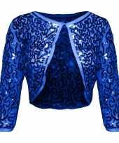Carnavalskleding blauwe glitter pailletten disco bolero jasje dames helmond