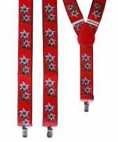 Carnavalskleding bloemen bretels rood wit helmond