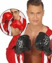 Carnavalskleding boks handschoenen zwart volwassenen helmond