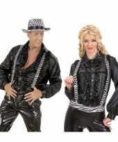Carnavalskleding bretels zwart witte zebra print helmond
