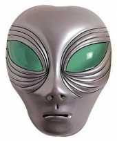 Carnavalskleding buitenaards wezen masker zilver volwassenen helmond