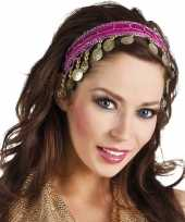 Carnavalskleding carnaval esmeralda buikdanseres hoofdband fuchsia roze dames helmond