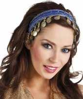 Carnavalskleding carnaval esmeralda buikdanseres hoofdband kobalt blauw dames helmond
