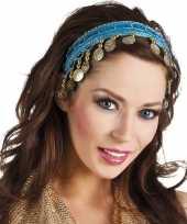 Carnavalskleding carnaval esmeralda buikdanseres hoofdband turquoise blauw dames helmond