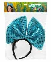Carnavalskleding carnavalaccessoire diadeem blauwe strik helmond