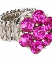 Carnavalskleding chunkring roze steentjes volwassenen helmond