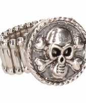 Carnavalskleding chunkring zilveren doodshoofd volwassenen helmond