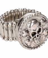 Carnavalskleding chunkring zilveren doodskop volwassenen helmond