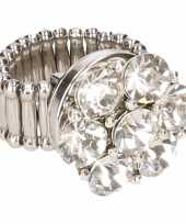 Carnavalskleding chunkring zilveren steentjes volwassenen helmond