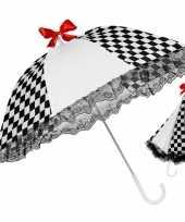 Carnavalskleding clown paraplu zwart wit helmond