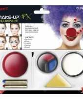 Carnavalskleding clown schmink set inclusief clownsneus helmond