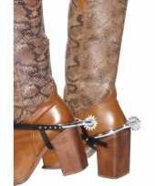 Carnavalskleding cowboysporen zilver plastic helmond