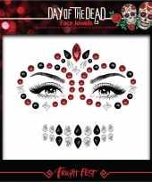 Carnavalskleding dag doden oogmake up scmink steentjes set rood zwart sugarskull calavera dames volwassenen helmond