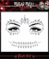 Carnavalskleding dag doden oogmake up scmink steentjes set zilver sugar skull calavera dames volwassenen helmond