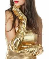 Carnavalskleding dames gala handschoenen lang goud helmond