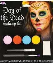 Carnavalskleding day of the dead schminkset gekleurd helmond